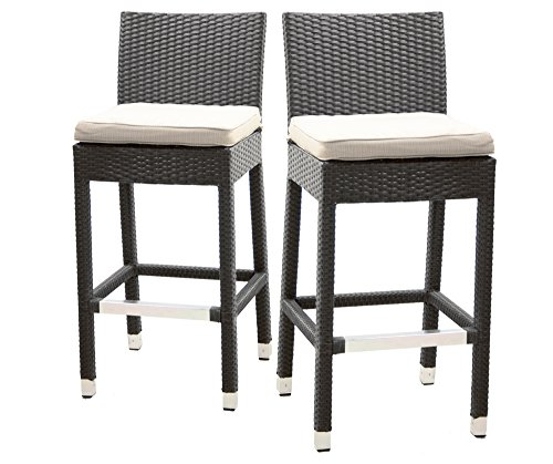 Wicker Bar Stool with Back, Set of 2 (Black) price