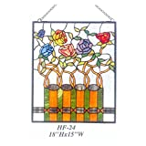 HF-24 Pastoral Vintage Tiffany Style Handmade Stained Glass Decorative Flowers Window Hanging Glass Panel Suncatcher, 18''x15''