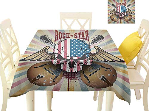 familytaste Indoor Table Cloth Guitar,Retro Style Composition Angry Skull American Flag Pattern Wings Electric Guitars,Multicolor Picnic Table Cloth W 54