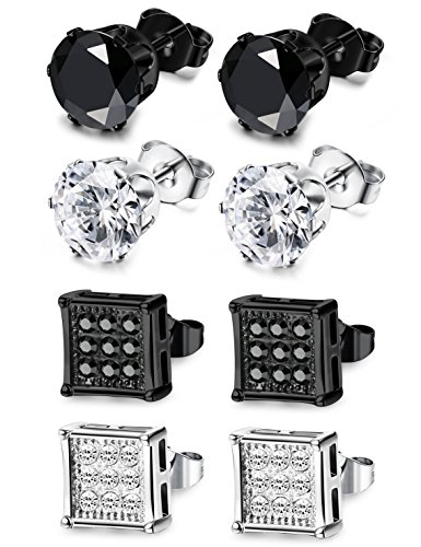 JOERICA 4 Pairs Stainless Steel Stud Earrings for Men Women Earrings CZ Inlaid,6-8mm -