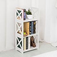 Dline - 3 Tiers Wood-Plastic Composites Storage Shelf - Bookcase, White