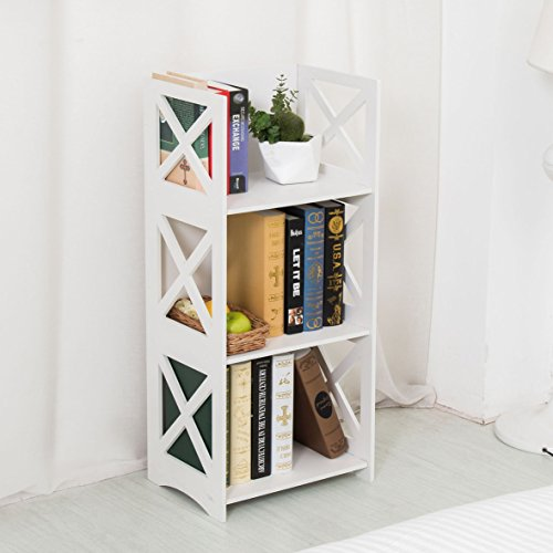 Dline - 3 Tiers Wood-Plastic Composites Storage Shelf - Bookcase, White