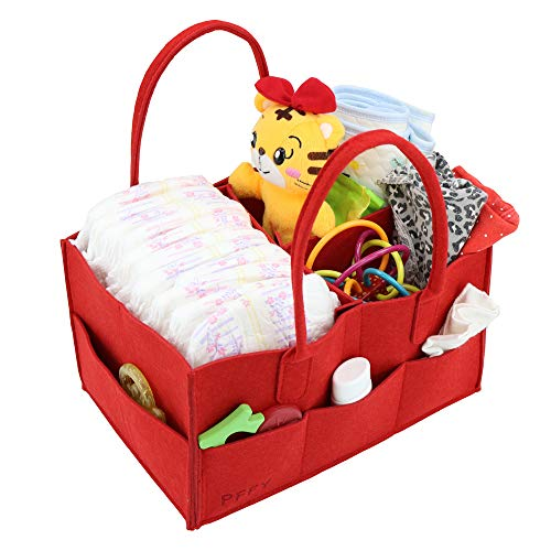 PFFY Diaper Caddy Diaper Organizer Baby Shower Basket Portable Nursery Storage Bin Car Toy Organizer Gift for Wife Tote Bag Red from PFFY