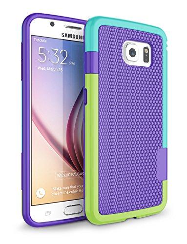 Galaxy S6 Case, Zectoo Hybrid Impact Slim Rugged Defender Protective Bumper Cute Women Girls Flexible Enhanced Non-slip Grip Case Soft Armor Cover Shell for Samsung Galaxy S6 S VI G9200 GS6 - Purple