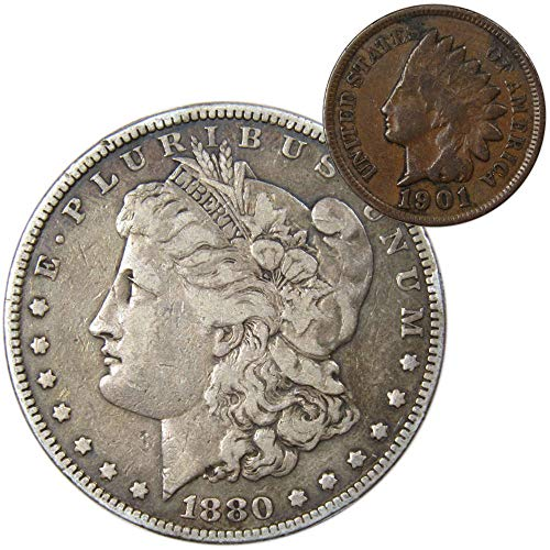 1880 $1 Morgan Silver Dollar F Fine with 1901 Indian Head Cent G Good Coin Lot