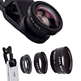 ECVILLA Universal 3 in 1 Camera Lens Kit Clip-On 180 Degree Supreme Fisheye + 0.67X Wide Angle+ 10X Macro Lens for iPhone 6s/6s Plus, iPhone 6/6 Plus,iPhone 5 5S 4 4S Samsung HTC Android (Black)