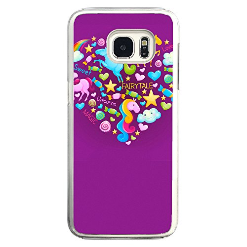 Image Of Fairytale Elements within a Heart on Purple Samsung Galaxy S7 Edge Phone Case