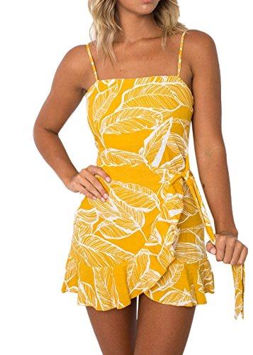 fc6ad98a122e8 Miracleoccur Sommer Damen Trägerkleid Süß Fashion Blumen Kleid  Strandkleider Chic Lotusblatt Seite Irregulär Minikleid Blusenkleider Sexy
