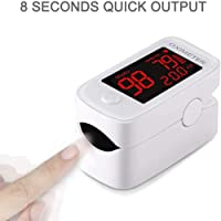 Fingertip Pulse Oximeter Digital Portable Spo2 Blood Oxygen Heart Rate Monitor with Red Front LED Display Screen(Color…