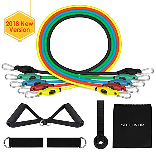 SEEHONOR Resistance Bands Set, Upgraded Workout Bands Include 5 Stackable Exercise Bands with Handles, Legs Ankle Straps, Door Anchor and Carry Bag for Resistance Training Home Workouts