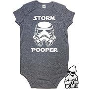 Daft Baby ~ Funny Storm Pooper Onesie Bodysuit & Baby on Board Sticker Charcoal Heather (6-Months)