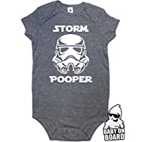 Daft Baby ~ Funny Storm Pooper Onesie Bodysuit & Baby on Board Sticker Charco...