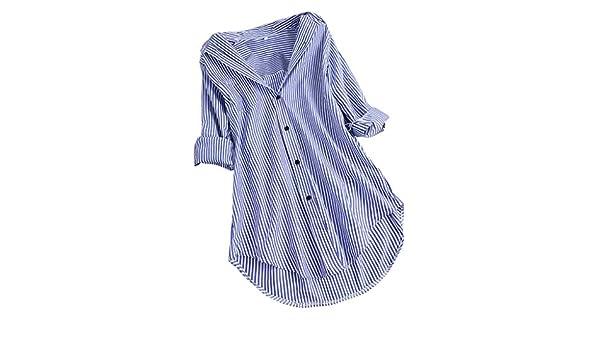 Blusa de Rayas Chic para Mujer ❤ Moda Casual Talla Grande ...