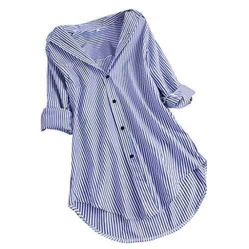 (TUSANG Women Shirt Chic Stripe Long Sleeve Turn-Down Collar Button Loose Top Shirts Blouse Loose Fit Comfy Tunic(Sky Blue,US-14/CN-3XL))