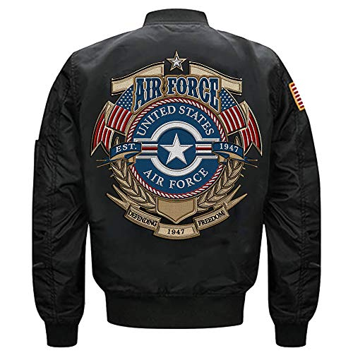 U.S. Air Force 1947 MA-1 Flight Embroidered Bomber Jacket (Black, ()