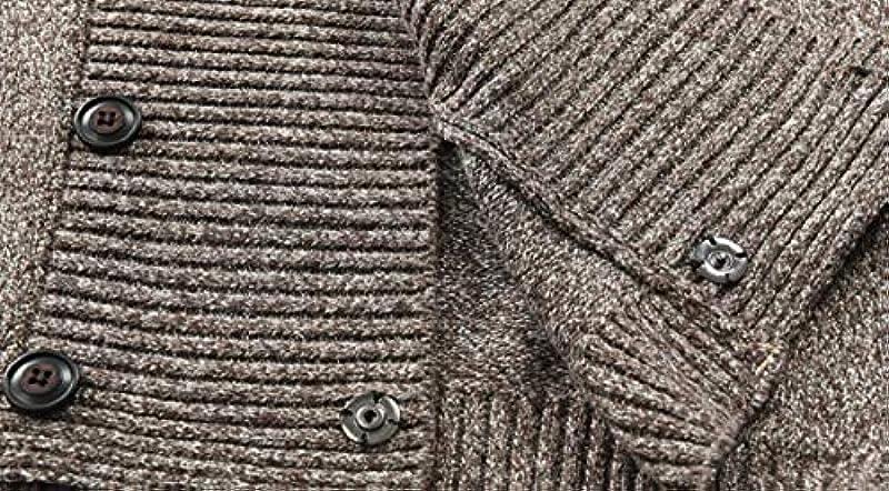 GRMO Mens Classic Knitwear Double-Breasted Slim Fit Shawl Collar Cardigan Sweater: Odzież