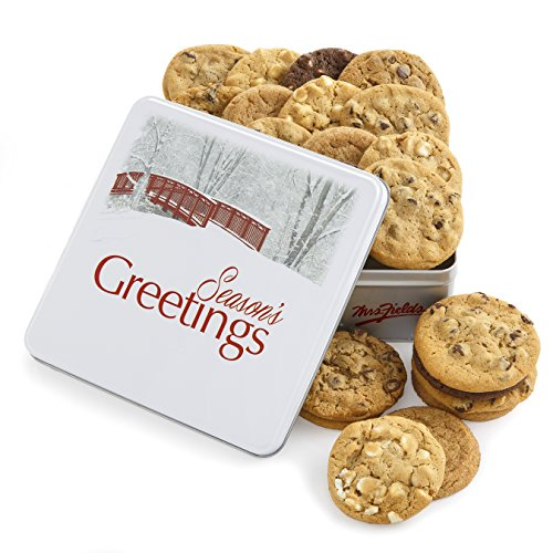 Mrs. Fields Season's Greetings Cookie Tin. Assorted Dessert Gift Box of 24 Full Sized Cookies.