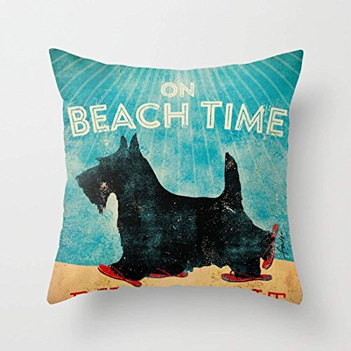 FJPT Throw Pillow Cover On Beach Time Scottie Black Schnauzer Funny Wear Red Flip Flops Cotton Pillowslip for Sofa Bed Square Stand Size Pillowcase 22x22 Inch