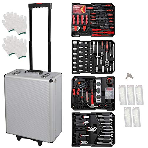 F2C 799 Piece Pro/Home DIY Mechanics Hand Tool Kit Set Auto General Repair Tools W/Portable Aluminum Trolley Storage Wheeled Case Tool Chest Organizer Box by F2C (Image #7)