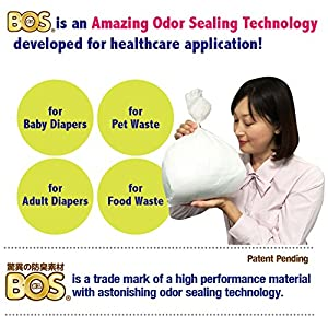 BOS, Amazing Odor-Sealing Disposable Bags (Unscented) for Diapers, Pet Waste or any Sanitary Product Disposal (60 Bags) [Size: L, Color: White] from BOS-SHOP