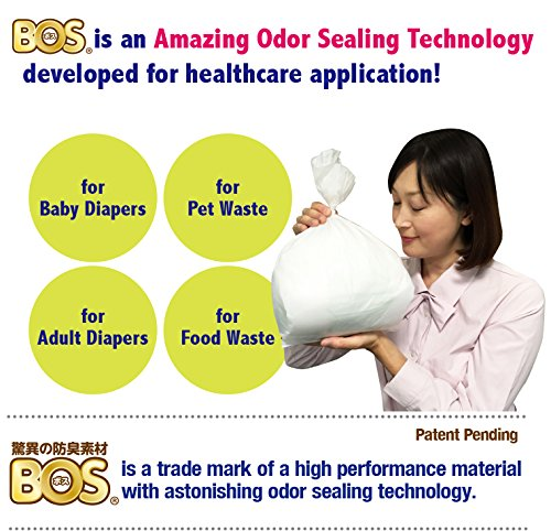 BOS, Amazing Odor-Sealing Disposable Bags (Unscented) for Diapers, Pet Waste or Any Sanitary Product Disposal (60 Bags) [Size: L, Color: White]