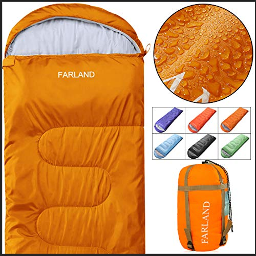 FARLAND Camping Sleeping Bag Adult for 0 Degree to 20 Degrees Fahrenheit EnvelopeMummy Outdoor Lightweight Portable Waterproof Perfect Traveling,Hiking Activities(Orange/Right Zip, Rectangular)