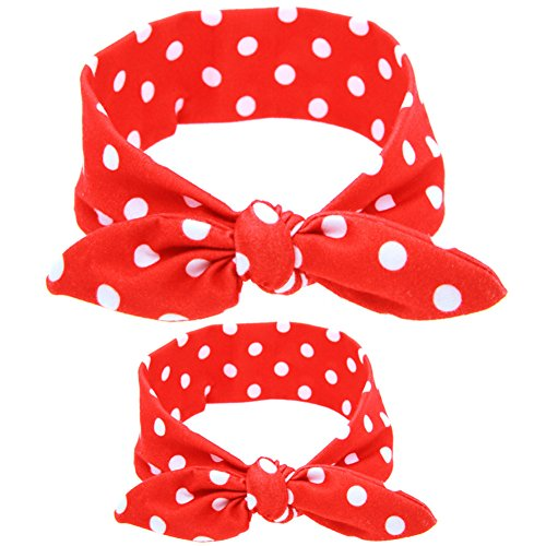 Qingsun 2Pcs Mom and Me Knotted Headband Newborn Baby Toddlers Girls Headwrap Top Knot Hairband Hair Bow 1Set(Red Polka Dot)]()