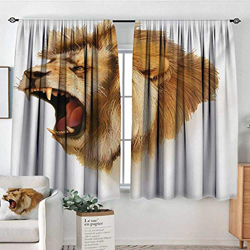 (King Room Darkening Curtains Roaring Wild Lion Head Safari African Animal Majestic Cartoon Like Print Artwork Decorative Curtains for Living Room 55