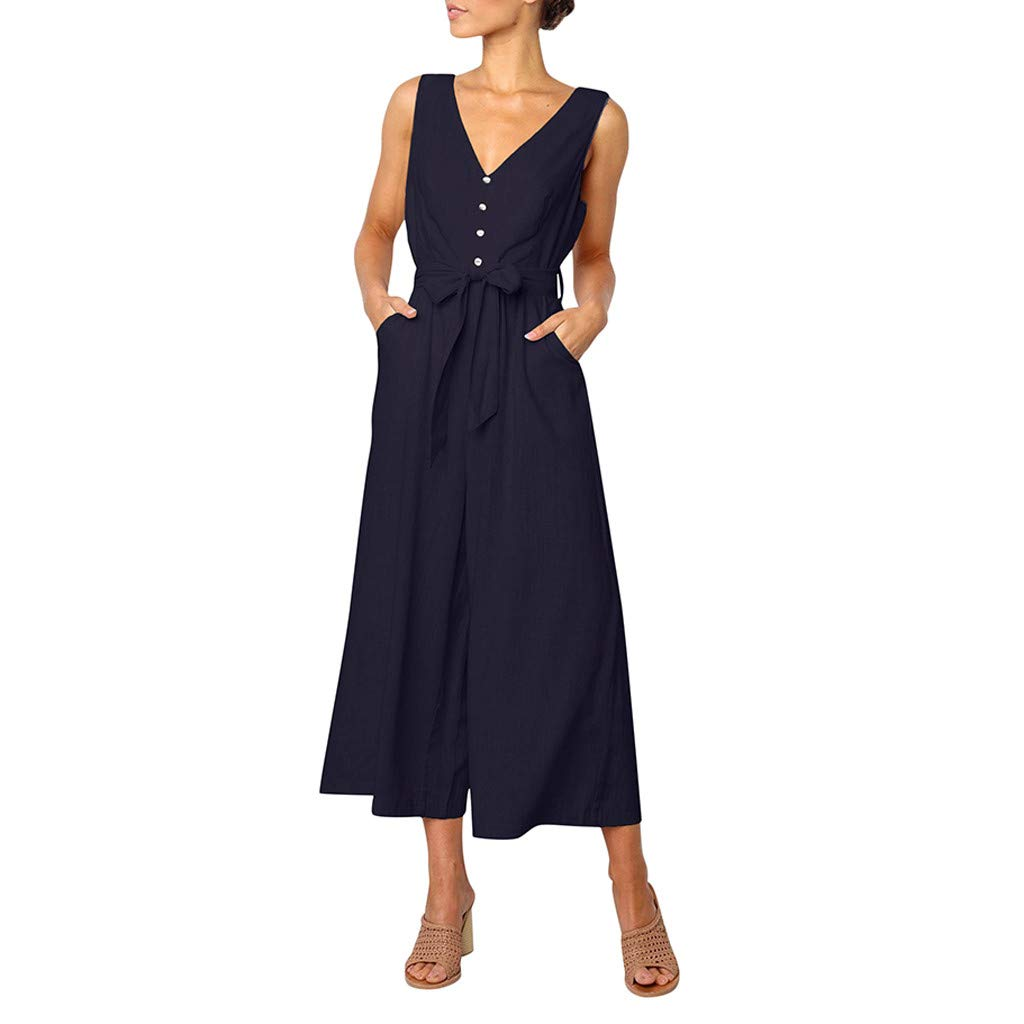 Pervobs Women Sleeveless V-Neck Backless Solid Button High Waisted Wide Leg Jumpsuit Casual Loose Beach Playsuits(XL, Navy)