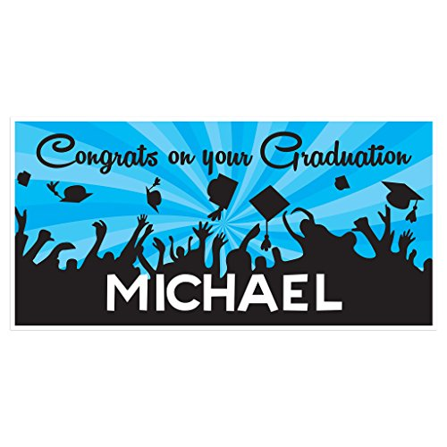 Cap Toss Graduation Banner Personalized Class of 2018 Party Backdrop