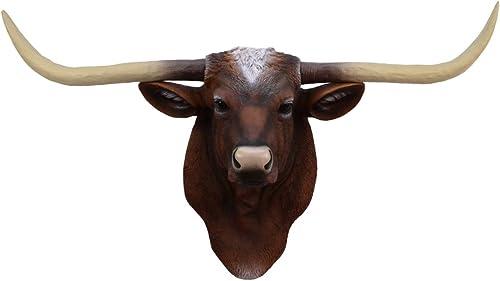 TG,LLC Treasure Gurus Longhorn Steer Ox Horns Resin Wall Mount Head Fake Taxidermy
