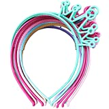 XIMA 12pcs Spring Colors ABS Plastic Material Crown Girls Headbands Tiaras Head Band Princess Children Headear Hair Accessory (SP-Crown)