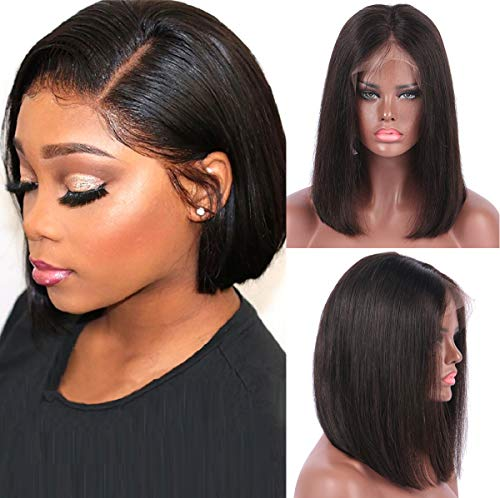 (BESFOR Bob Virgin Human Hair Wig Middle Part Short Cut Glueless Lace Front Wigs 150% Density with Natural Hairline(12inch, Natural)