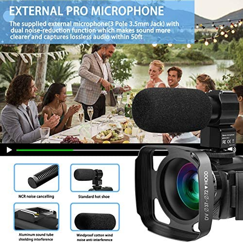 Video Camera Camcorder with Microphone, VideoSky 42MP HD 1080P 30FPS Digital Recording Camcorders for YouTube 64 GB Memory Card Vlogging IR Night Webcam Time-Lapse Slow Motion,Touch Screen, Lens Hood 51oHZn7SYcL