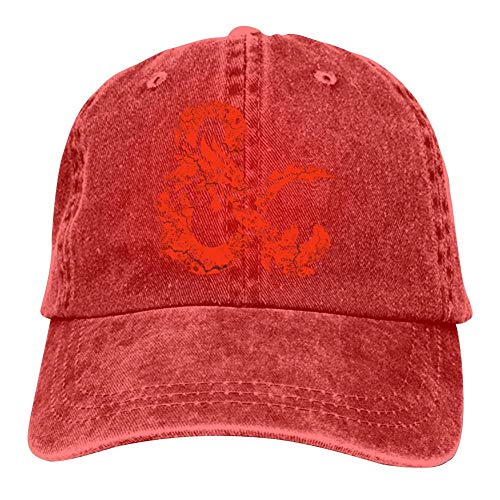 (Wmgjiejgle Dungeons & Dragons Unisex Clean Up Baseball Caps Washed Cotton Natty Cowboy Adjustable Hat Red)
