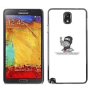 Caucho caso de Shell duro de la cubierta de accesorios de protección BY RAYDREAMMM - Samsung Note 3 N9000 - Gentleman Fumador divertido