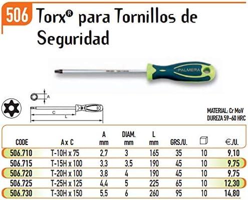 ECOSPAIN Destornillador Torx Palmera Seguridad Modelo H-30 506.730