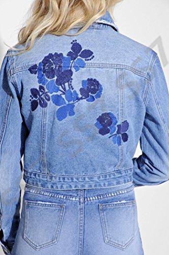 Bleu 14 Floral Femmes Nouvelles Veste Ss7 Jean Tailles 34 Jeans En Pour EwzPWWx7q