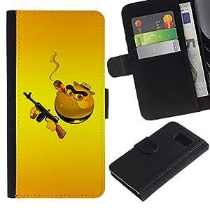 KLONGSHOP / Tirón de la caja Cartera de cuero con ranuras para tarjetas - Junk Food Kills Gun Machine Hamburger Death - Samsung Galaxy S6 SM-G920