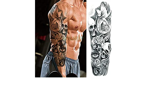 ljmljm 3 Piezas Pegatinas de Tatuaje Impermeables Cabeza de cráneo ...
