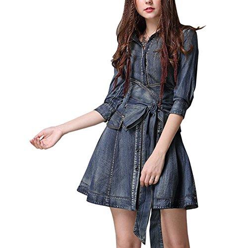 Kleid LHA82085 Denim Partykleid Damen Blau girl Kleider Linie A E Kurzarm Mini fO7nS8x8
