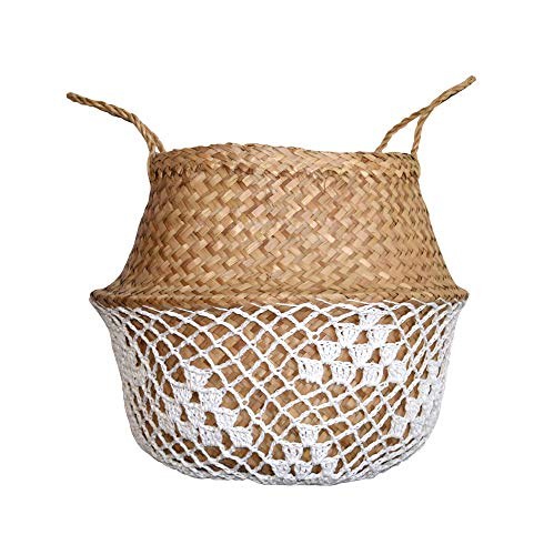- DUFMOD Medium Natural White Net Seagrass Woven Tote Belly Multipurpose Basket for Storage, Laundry, Picnic, Plant Pot Cover, and Beach Bag (Natural Net White, Medium)
