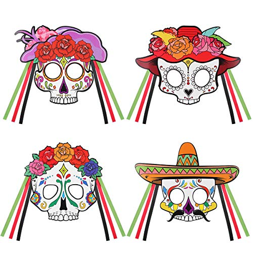 Amosfun Day of the Dead Masks Skeleton Half Mask Sugar Skull DIY Mask Mexican Fiesta Halloween Fancy Dress Up Costume Accessory 4PCS -