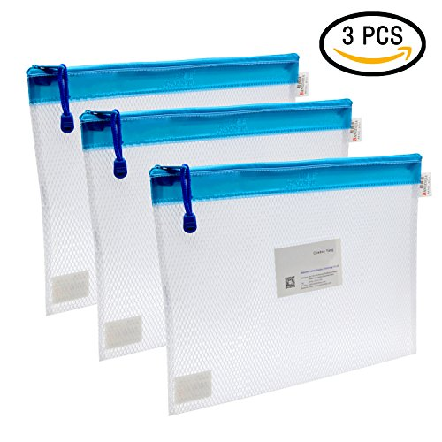 Zipper File Bags, VAlinks® 3Pcs Clip-on Zippered Waterproof PP Storage Bags with Small Label Pocket Organizer for Term Papers, Document, Newspapers, Business Receipts, Magazines Clip And More! (Document Bag)