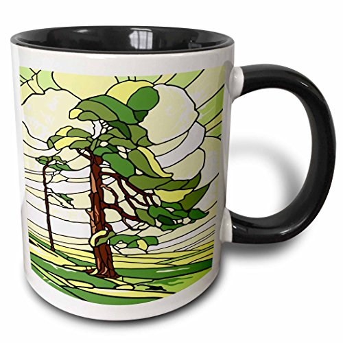 3dRose Russ Billington Designs - Green and Yellow Stained Glass Pine Tree Design - 15oz Two-Tone Black Mug ()