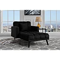 Modern Velvet Fabric Recliner Sleeper Chaise Lounge - Futon Sleeper Single Seater with Nailhead Trim (Black)