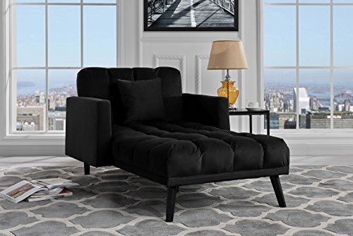 Sofamania Modern Velvet Fabric Recliner Sleeper Chaise Lounge - Futon Sleeper Single Seater with Nailhead Trim (Black)