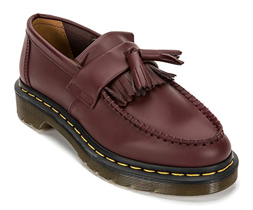 Dr. Martens Adrian Yellow Stitch Tassel Loafer, R22209 (UK 6 (US Mens 7 Womens 8), Cherry Red)
