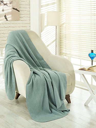 "Ottomanson Soft Fleece Blanket, 50"" x 65"", Seafoam - Size: 50""X65"" Color: Sage Green Long lasting quality with vivid colors that won't fade away - blankets-throws, bedroom-sheets-comforters, bedroom - 51oHazi5SjL -"
