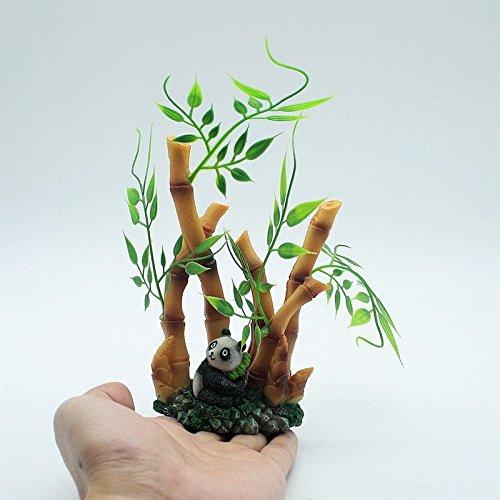 Decoracion para acuario diseño hojas de bambu con oso panda exotico para tu pecera, acuario, estanque,: Amazon.es: Hogar